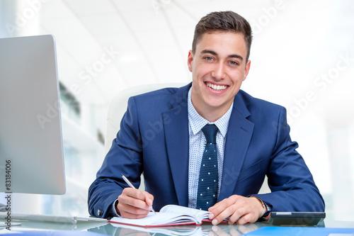 Fotografie, Obraz  Handsome businessman in blue suit.