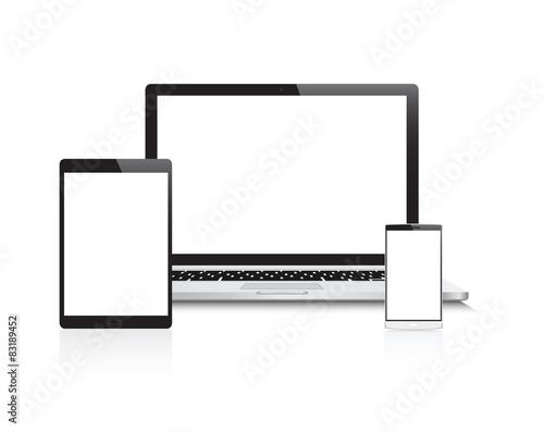 Fotografie, Obraz  Laptop, Tablet & Phone Devices