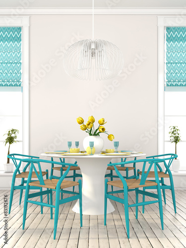 Stylish dining room with blue furniture Poster