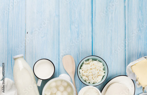 Poster Produit laitier Sour cream, milk, cheese, yogurt and butter