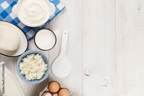 Poster Produit laitier Sour cream, milk, cheese, eggs and yogurt