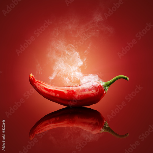 Spoed Foto op Canvas Hot chili peppers Chili red steaming hot