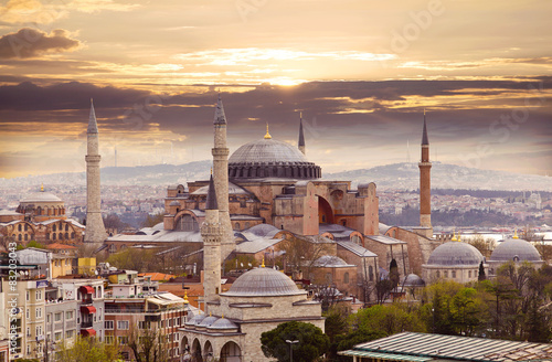 Hagia Sophia in evening light, Istanbul, Turkey Wallpaper Mural
