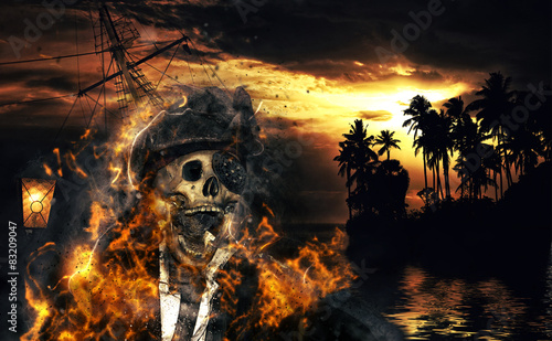 Naklejka premium Pirat w karibkach