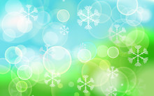 Abstract Festive Bokeh Lights With Snowflakes On Christmas Abstr