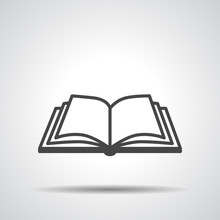 Open Book Vector Icon On A Gre...