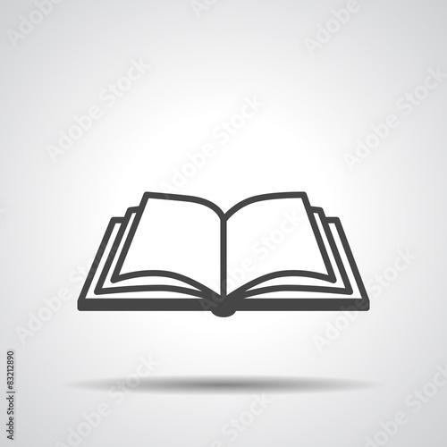Fotografía  Open book vector icon on a grey background