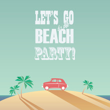 Beach Party Poster With Vintag...