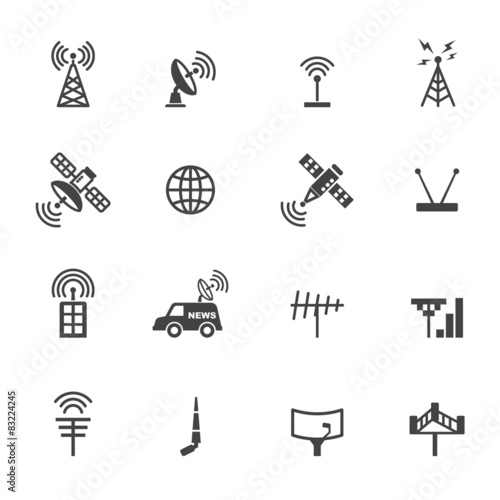Fotografie, Tablou  antenna and satellite icons