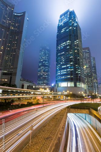 Photo  Hong Kong Business District at Night Light Track