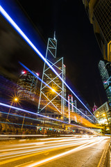 Fototapeta na wymiar Hong Kong Business District at Night with Light Track