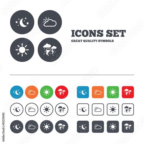 Cloud And Sun Icon Storm Symbol Moon And Stars Buy This Stock