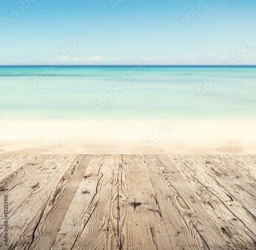 Garden Poster Light blue Empty wooden pier with view on sandy beach