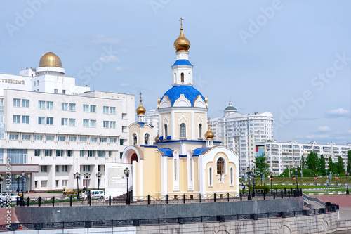 Russia, Belgorod: the church in the city park. Canvas Print