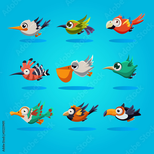 Fotografie, Tablou  Funny Cartoon Birds, Vector Illustration