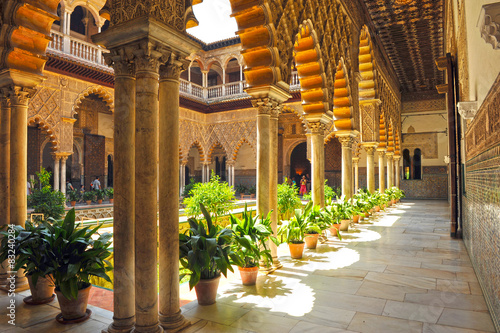 Alcázar de Sevilla, Patio de las Doncellas, Andalucía, España