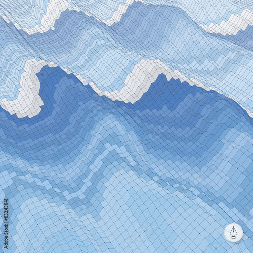Tuinposter Lichtblauw Abstract background with waves. Mosaic. 3d vector illustration.