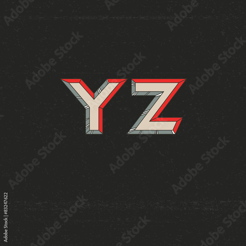 80s Retro Futuristic Font from Y to Z - Buy this stock