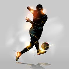 Fototapeta na wymiar Abstract soccer quick shooting