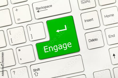 Fotografie, Obraz  White conceptual keyboard - Engage (green key)