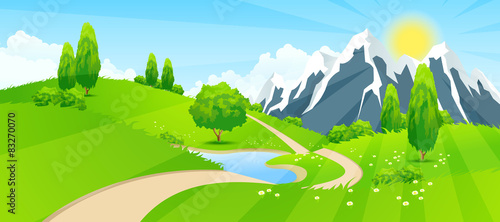 Foto op Canvas Pool Green Landscape with Road and Mountains