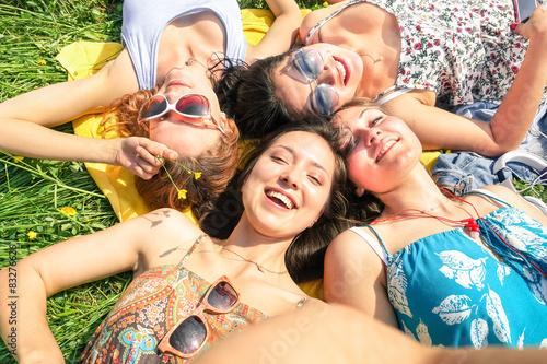 Fotografie, Obraz  Multiracial girlfriends taking selfie at countryside picnic