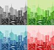 City skyline in four color