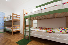 Bunk Beds In A Hostel Room
