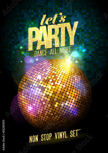 Fotografía Party design with gold disco ball.