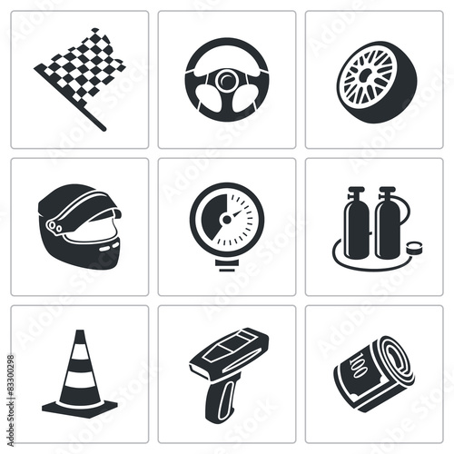 Fotografie, Obraz  Car racing and pumping Vector Icons Set