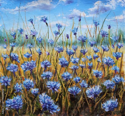 Fototapety, obrazy: Flower Field. Blue flowers in meadow. Blue sky. Oil painting.