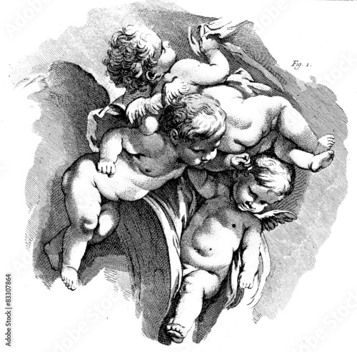 Stampa su Tela Flying putti, Cherub