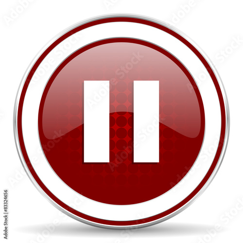 Fotografie, Obraz  pause red glossy web icon