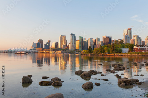 Photo Stands Canada Vancouver BC City Skyline Morning