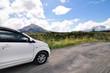 driving across the caldera ridge road among view of extinct crat