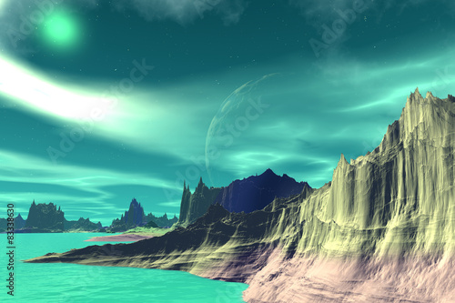 Foto op Canvas Groene koraal Fantasy alien planet. Rocks and lake