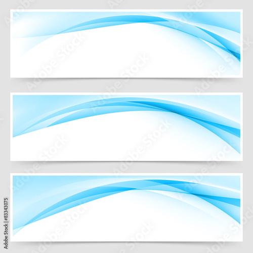 Fototapeta Soft blue wave border template header set obraz