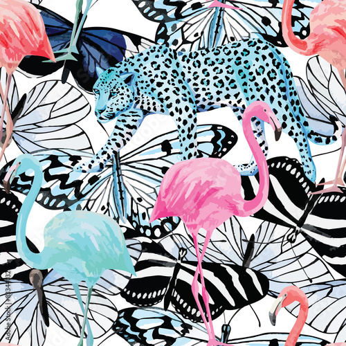 flamingo, leopard and butterflies watercolor pattern
