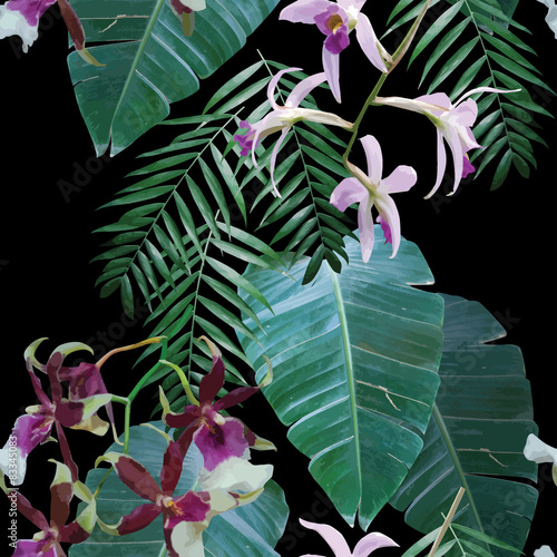 Foto Rollo Basic - orchids exotic tropical pattern (von berry2046)