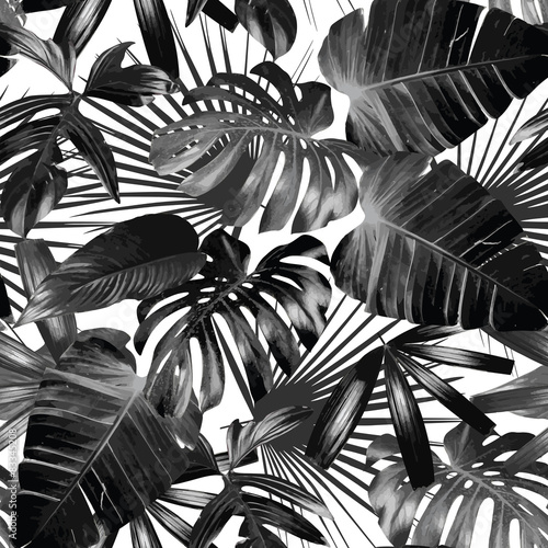 Fotografie, Obraz  graphic palm leaves seamless background