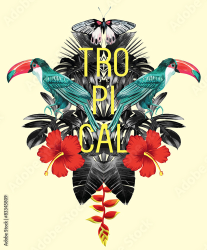 Foto-Vinylboden - toucan, hibiscus and leaves tropical mirror print (von berry2046)