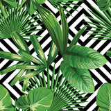 Fototapeta Bedroom - tropical palm leaves pattern, geometric background
