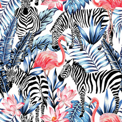 Fototapetawatercolor flamingo, zebra and palm leaves tropical pattern