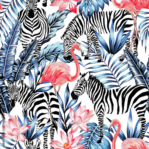 watercolor flamingo, zebra and palm leaves tropical pattern  - 83346638