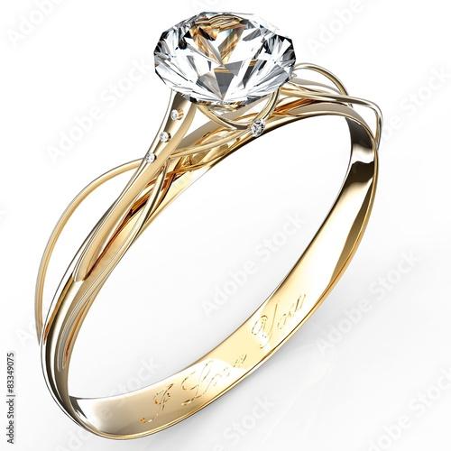 fototapeta na szkło Złoty pierścionek z brylantem samodzielnie na biały
