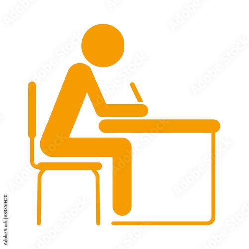 Foto  Icono aislado estudiante naranja