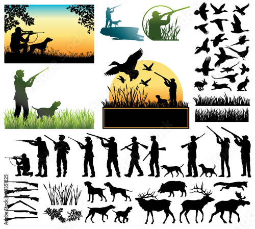 Leinwand Poster Hunting silhouettes and labels vector set