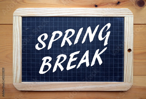 Fotografija  The phrase Spring Break in white text on a slate blackboard