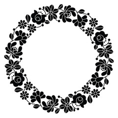 FototapetaKalocsai black embroidery in circle - Hungarian folk pattern
