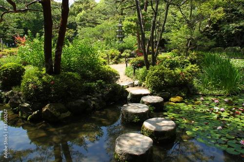 Fotografie, Obraz  Stepping stone in a japanese garden (Heian Jingu)
